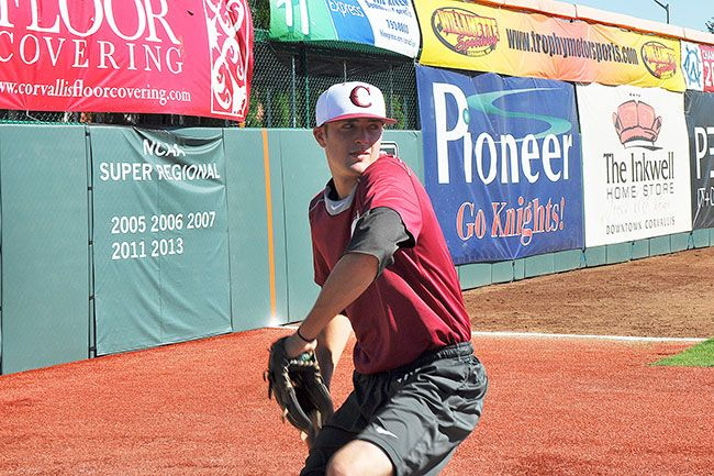 Robert Husseman/News-RegisterLinfield senior and McMinnville High School graduate Chris Haddeland is spending his summer with the Corvallis Knights of the West Coast League.