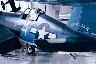 Eric Kilby photo/Flickr Creative Commons##The Goodyear FG-1D Corsair, pictured here at in at the Evergreen Aviation Museum in 2012, was sold earlier this year by Fall Events Center owner Steve Down, who acquired it and eight other planes during bankruptcy proceedings.