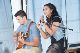Marcus Larson/News-Register##Yani Emry and Nick Peloquin perform  Sunday Morning  by the band Maroon 5 during Saturday morning s Yamhill County Fair talent show.