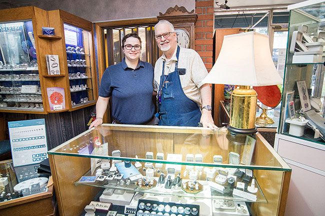 Marcus Larson/News-Register ## Dave Spalding is pleased that his youngest daughter, Jean Spalding, is his partner in Timmreck & McNicol Jewelers.