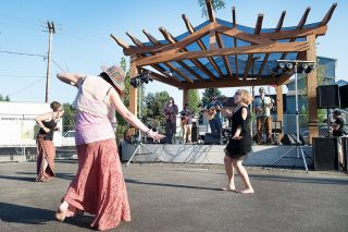 News-Register file photo##Music lovers dance to the sounds of Sol Seed during last year's Walnut City Music Festival, which unveiled the new stage to be used during the Grain Station  Brew Works' weekend concerts this summer.