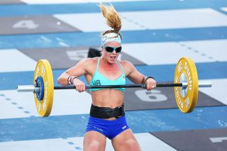 Photo courtesy Janice Hurley##CrossFit Games 2016, Double DT (event comprises 10 rounds of 12 deadlifts, 9 hang power cleans, 6 push jerks) 105 lbs for the women, she finished in 39th place for this event.