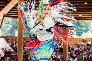 grand ronde girls Kaleigha simi competes in the junior girls jingle category during the 2018 confederated tribes of grand ronde contest powwow held at uyxat powwow grounds on saturday, aug 18 simi placed fifth in the category.