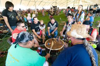 News-Register file photoThe Confederated Tribes of the Grand Ronde host drumming groups, like The Woodsmen, above, and dancers during the annual Contest Powwow. It's one of the largest powwows in the Northwest.