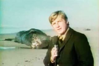 "Image: KATU-TV 2##The opening shot of Paul Linnman and Doug Brazil's now-famous KATU news report on the exploding whale. The full video can be easily found on YouTube with a search for ""Exploding Whale."""