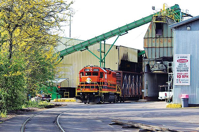 Courtesy SEDCOR##A train pulls out of Willamina's Hampton Lumber, one of the largest employers in the West Valley.