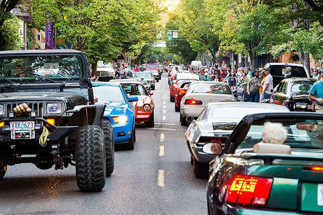 News-Register file photo##Cars line Third Street during an earlier Drag the Gut Festival.
