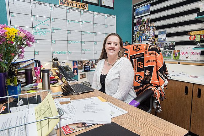 Marcus Larsonx/News-Register##Sarah Norwood is settling in to her new position as principal of Willamina Elementary School. Before becoming principal, Norwood served as a fifth-grade teacher at the school.