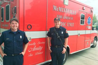 Marcus Larson / News-Register##Amity firefighters show off the new medical vehicle.