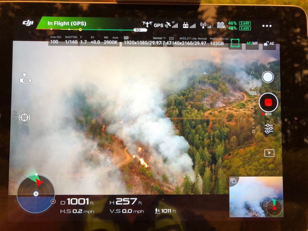Tualatin Valley Fire & Rescue photo##Drone image of Chehalem Mountain-Bald Peak Wildfire taken from a logging road looking west, not far from Highway 219.