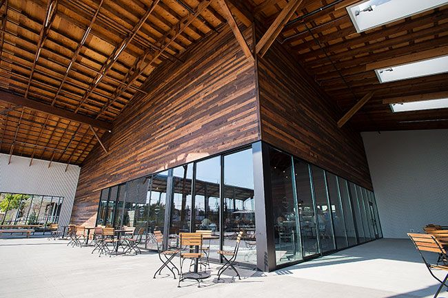 Marcus Larson/News-Register##A covered patio adjoins Argyle's new tasting room in Dundee. The larger facility was built in response to more customers stopping by to taste the sparkling wines it is known for.