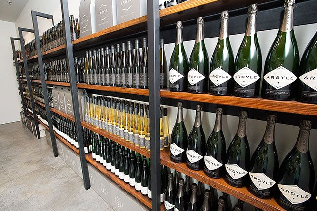 Marcus Larson/News-Register##Shelves holding bottles of Argyle's wine. Although the winery is most famous for its sparkling wine, it also makes chardonnay, riesling and pinot noir.