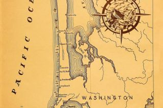 "Image: Binford & Mort Publishers##This map of the Columbia River entrance, drawn by Harold C. Smith, appears in James Gibb's book; each number corresponds to a shipwreck. The map shows the bar as it appeared after the jetties had been built and its shoalwater channels had been ""tamed."""