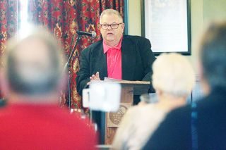 Rockne Roll / News-Register##McMinnville Mayor Rick Olson speaks to the McMinnville City Club during a pub chat at the Hotel Oregon Tuesday afternoon.
