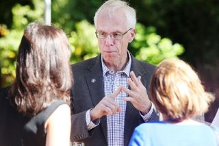 Rockne Roll/News-Register##Bud Pierce talks with supporters at a campaign event  in Carlton on Sunday, Sept. 25.