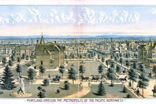 Image: UO Libraries##This panoramic lithograph shows Portland as it appeared around the time John W. Murray killed his brother-in-law. It was published in an 1888 edition of The West Shore magazine.
