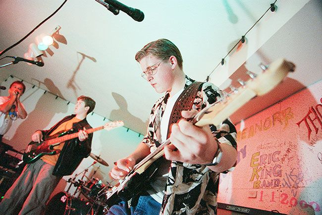 News-Register file photo##Jake Blair, right, and Matt Seymour, on bass guitar, are shown here in 2000, when they were ages 14 and 13, respectively.