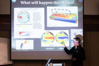 Marcus Larson/News-Register##Meteorologist Tyree Wilde gives a detailed presentation of what our winter weather was like last year, and what we can expect this year.