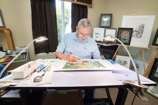 Marcus Larson/News-Register##Jim Smith works in his McMinnville home studio, surrounded by his realistic pen-and-ink drawings and paintings. He taught himself to draw as a way to relieve stress.