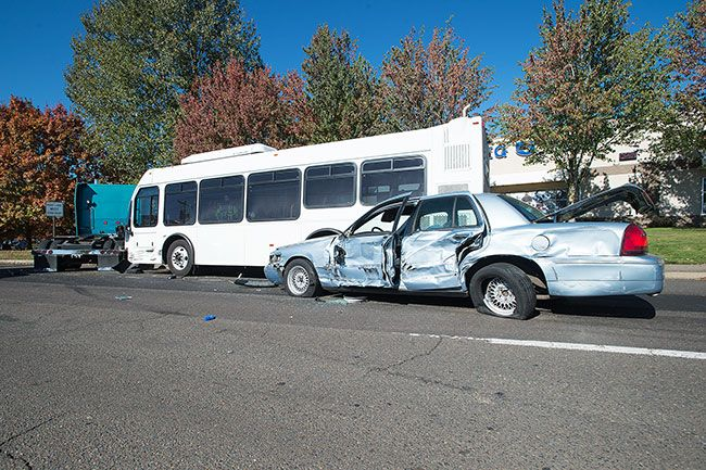 Marcus Larson/News-Register##The aftermath of Tuesday s three-vehicle crash.