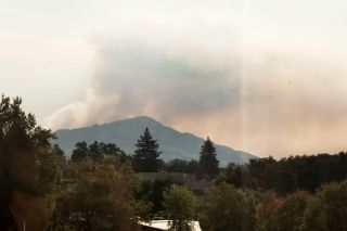 Submitted photo##Thick smoke from wildfires looms over Santa Rosa Memorial Hospital, where Mac grad Jan Bryant ha been working for a year.