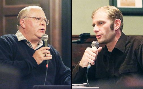 Rockne Roll/News-Register##McMinnville city councilor Scott Hill, left, and Jared Miller speak at the mayoral candidates' debate sponsored by the McMinnville City Club on Tuesday at Hotel Oregon.