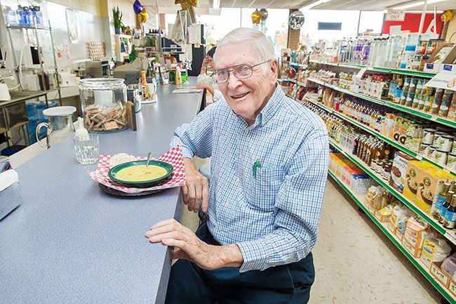 Marcus Larson/News-Register##Though he's now retired, Vern Hinshaw visits Parkway Natural Foods several times a week for lunch and conversation. His daughter, Kathy, runs the store.