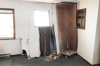 Marcus Larson / News-Register##The crash left interior damage. Had it happened during the day, the room would have been occupied.