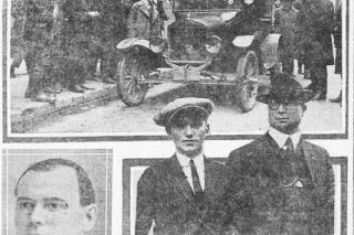 Image: UO Libraries##News coverage from the April 18, 1922, issue of the Portland Morning Oregonian included this photo spread, showing (clockwise from top) the murder car; Detective Mallett of the Portland Police Bureau with murder suspect Russell Hecker; and victim Frank Bowker.