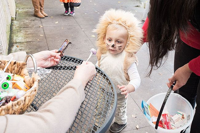 Marcus Larson/News-Register##One-year-old Atticus Mills, dressed as a lion, is offered the choice of eyeball sucker or Snickers bar.