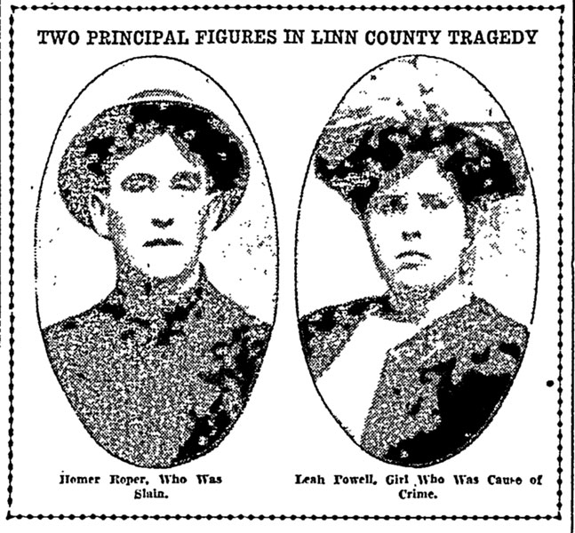 ##Portraits of Homer Roper and the girl with whom he'd eloped, Leah Powell, as they appeared in the Portland Morning Oregonian after Roper was shot.