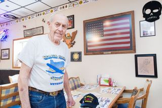 Marcus Larson/News-Register##Marv Worden at the McMinnville Vets Club, where he's a frequent visitor. After WWII, Worden operated McMinnville Concrete for 50 years. His blocks went into many local buildings.
