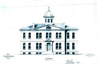Image: Wikimedia Commons##The elevation drawing from the original blueprints for the Dalles City Mint show what the building would have looked like had it been finished. The project was abandoned before the roof was finalized, so the outline of the building looks different today.