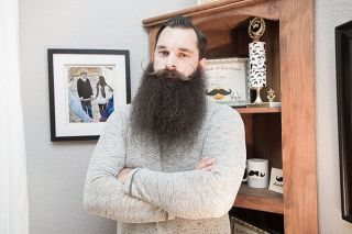 Marcus Larson/News-Register##Bill Hurliman of McMinnville started growing a beard after leaving a job in food processing. His meticulously maintained facial hair has won or placed in a number of competitions, including last year's National Beard and Moustache Championships.