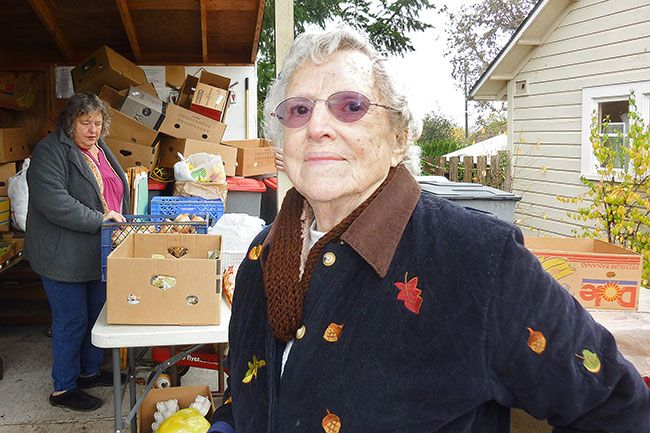 "Starla Pointer/News-Register##Ellen McMurray keeps a positive outlook, no matter what happens. ""Don't hold a grudge,"" she advises. The 90-year-old is a regular volunteer at the Yamhill-Carlton Food Bank."