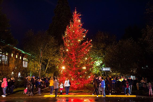 Marcus Larson / News-Register##McMinnville s city Christmas tree brightens the west end of Third Street.