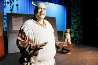 Rockne Roll/News-Register##Shrek (Dennis Fisher) is content living on his own in a swamp — until he meets Donkey and other friends and falls for a princess.