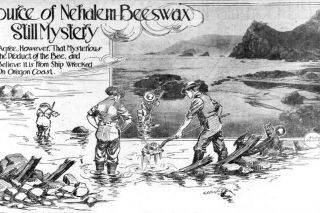 Image: UO Libraries##This illustration accompanied a 1915 article about the beeswax shipwreck in the Portland Sunday Oregonian.