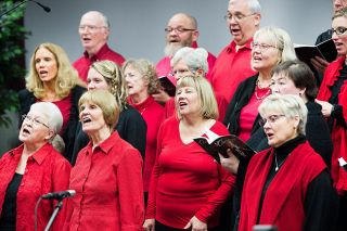Marcus Larson/News-Register##Members of the Community Cantata Choir perform Friday, Dec. 8, at Dayton First Baptist Church. The group began meeting for rehearsals in October.
