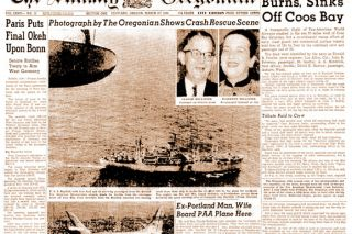 ##The Portland Oregonian's coverage of the crash of Flight 845, on the front page of the next day's paper. The newspaper rushed a news team to the airfield in Portland and got to the scene of the wreck even before the rescuers arrived.