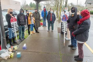 Rusty Rae/News-Register##Howie Harkema, interim executive director of Champion Team, speaks during a memorial service for Mike Stepp on Sunday at the Yamhill County Courthouse bus stop.