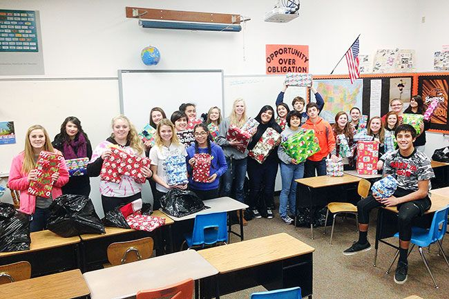 Submitted photo##Willamina High School students raised $2,000 to purchase presents for more than 50 kids this year.