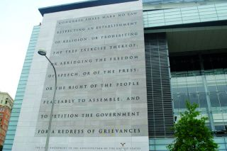 Public domain image##The First Amendment displayed on the side of the Newseum in Washington, D.C.