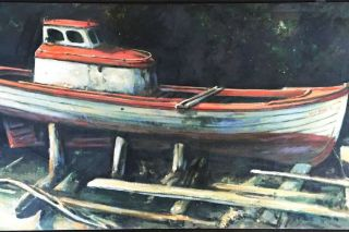 "Image: Leland John ## This painting shows an old ""bowpicker"" gillnetting boat on blocks by the river."