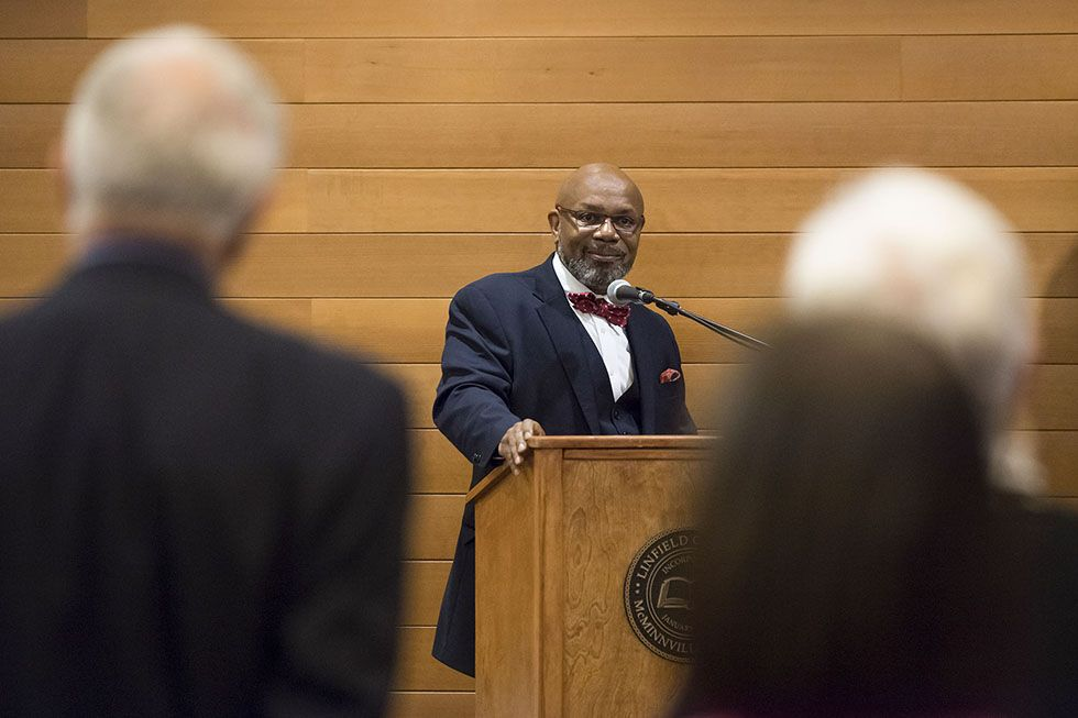Submitted photo##Miles Davis speaks during a visit to the Linfield campus in December.
