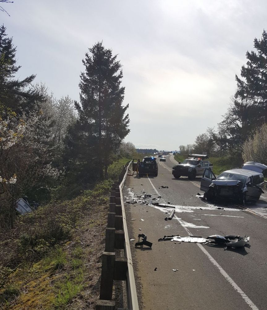 Submitted photo  / Oregon State Police##Two people died in a head-on collision east of the McMinnville Airport Saturday afternoon.