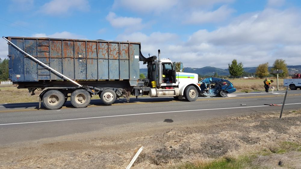 Photo courtesy Oregon State Police##A Grand Ronde woman was killed Wednesday morning in a two-vehicle crash at the intersection of Highway 18 and Red Prairie Road, west of Sheridan.