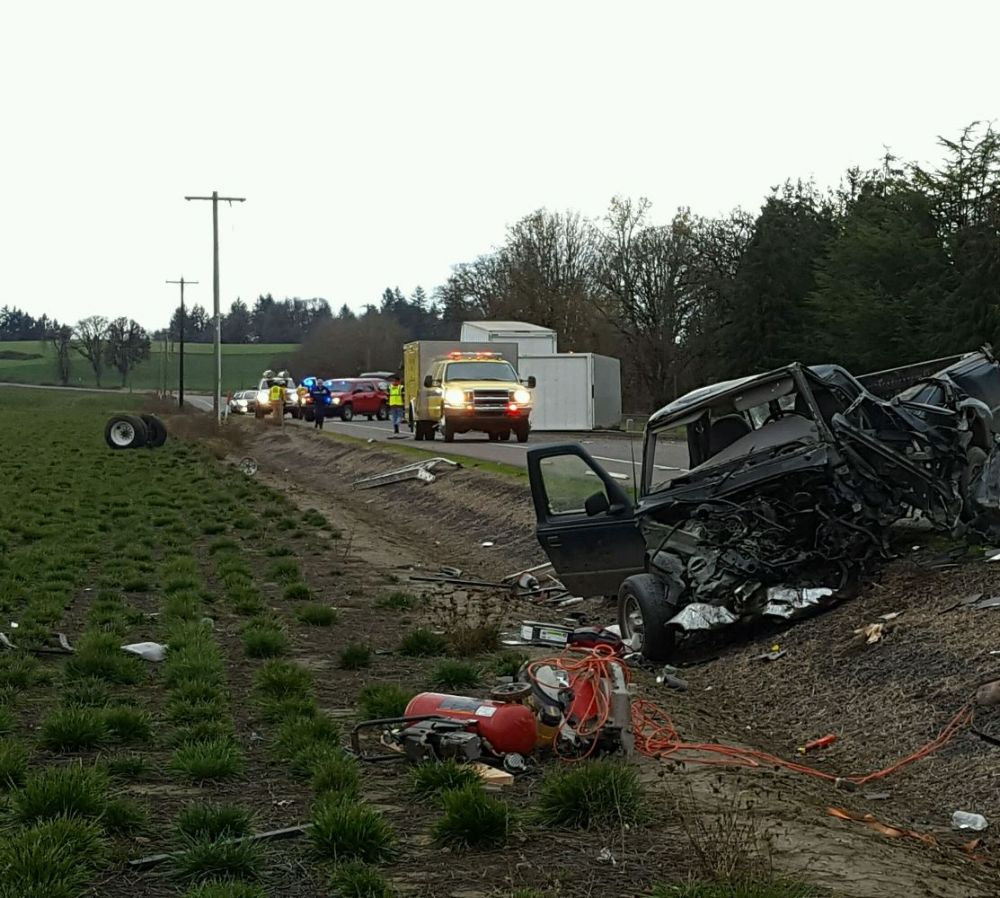 Oregon State Police photo##One person was killed in a two-vehicle crash just north of Amity Friday morning.