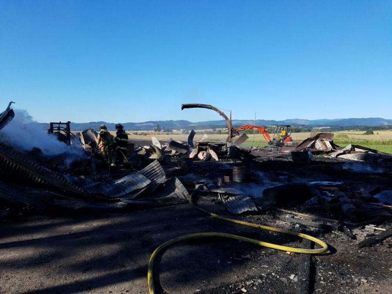 Photo courtesy Sheridan Fire District##This is all that remains of a barn on DeJong Road in rural Sheridan that was destroyed by a fire early Friday morning.