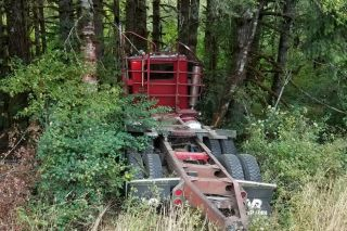 Photo courtesy Oregon State Police##A log truck driver was killed Friday afternoon when his rig left Highway 22 in rural Yamhill County.